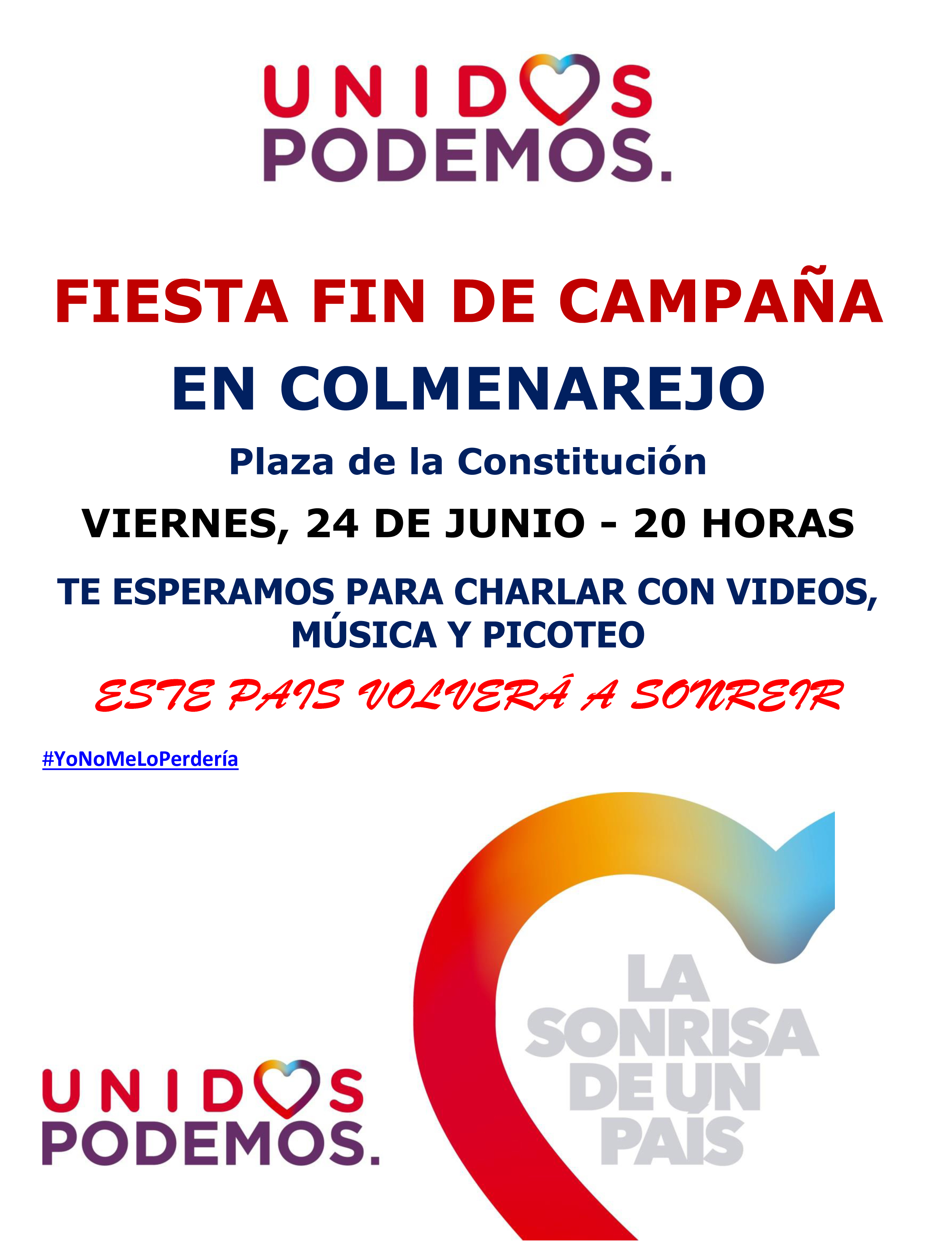 FIESTA FIN DE CAMPAÑA UP COLMENAREJO 24-06-2016 20 HORAS