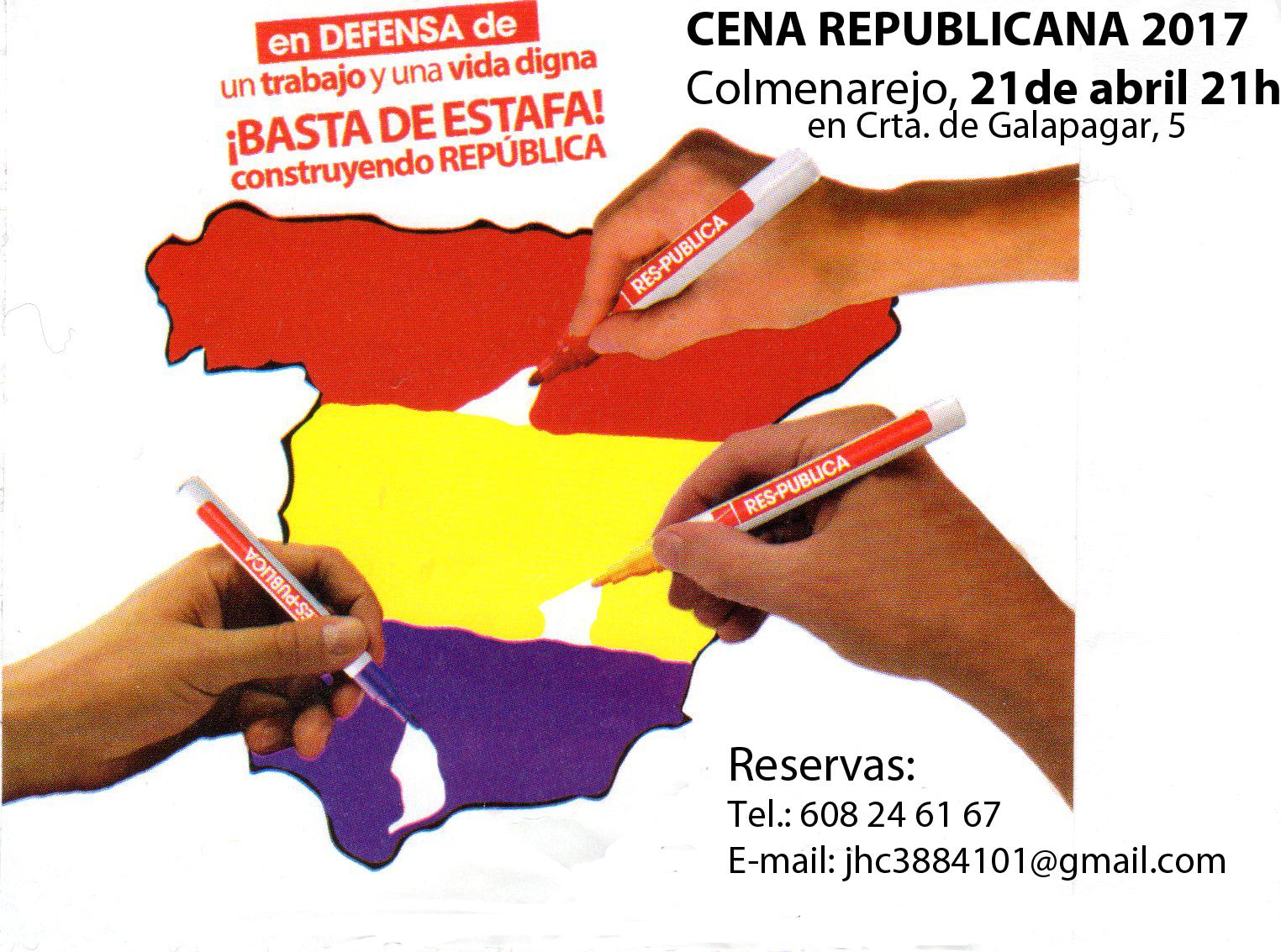Cartel CENA REPUBLICANA 2017 Colmenarejo 21-04-2017