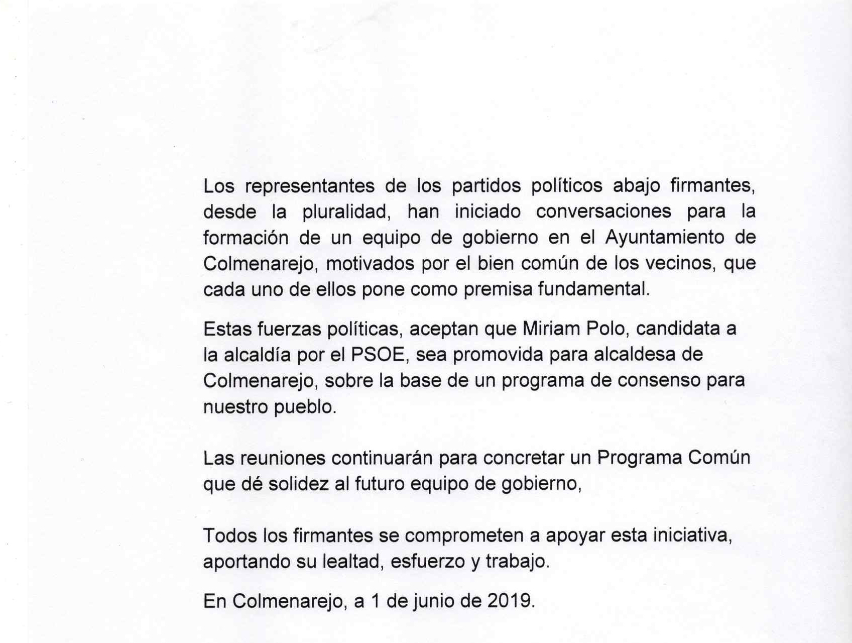 Acuerdo de Gobierno para Colmenarejo 2019 firmado por PSOE, VxC, AxC, UNIDAS PODEMOS IU